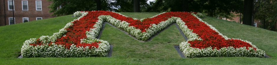 Traffic circle M with red flowers and white border